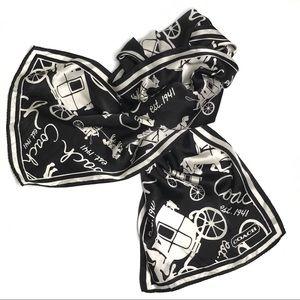 Coach Black & White Silk Rectangular Logo Scarf